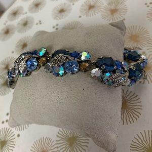 Vintage blue Austrian crystal cluster bracelet